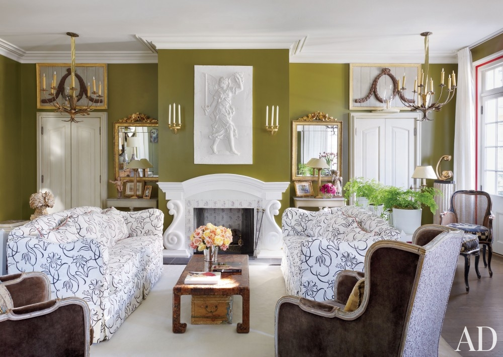 olive walls living room southern style new orleans Louisiana decorating