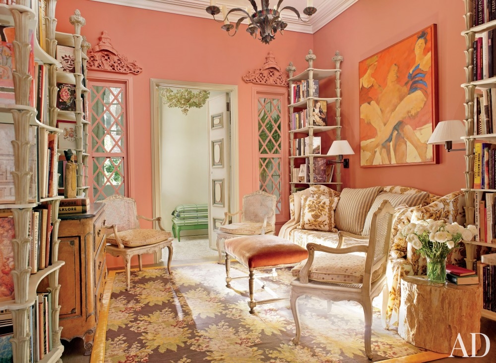 pink coral peach wall color gold french queen anne chair molding decorating southern style living room