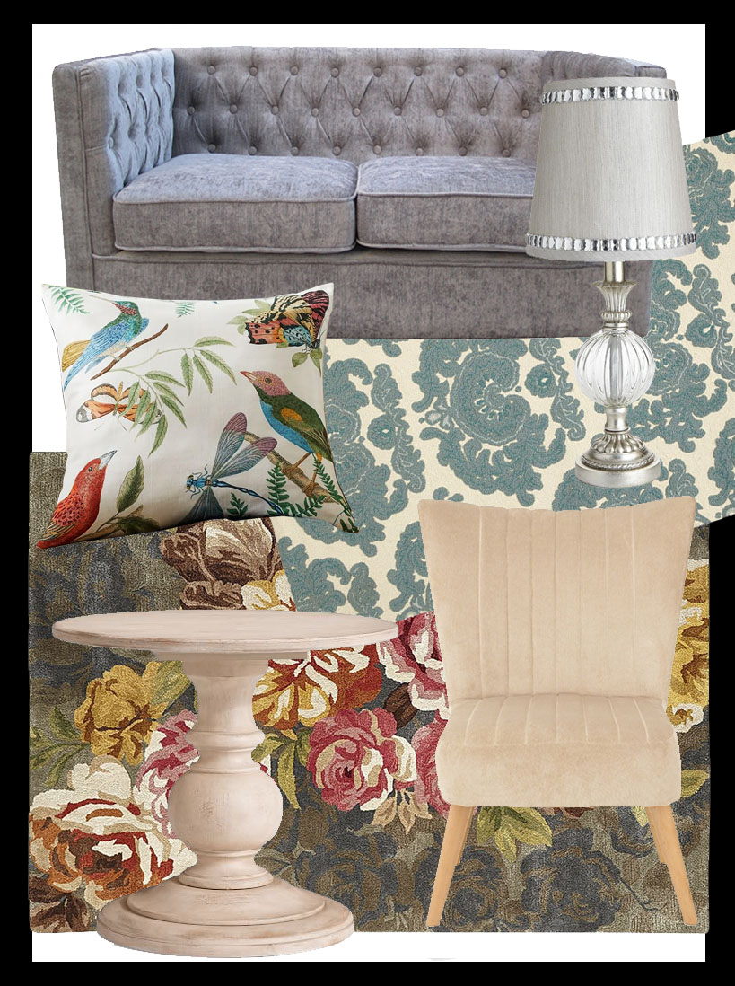 victoria boudoir decorating style get the look 1800s southern pier one rug floral damask tufted sofa better decorating bible blog cream blue tropical pillow fads furniture