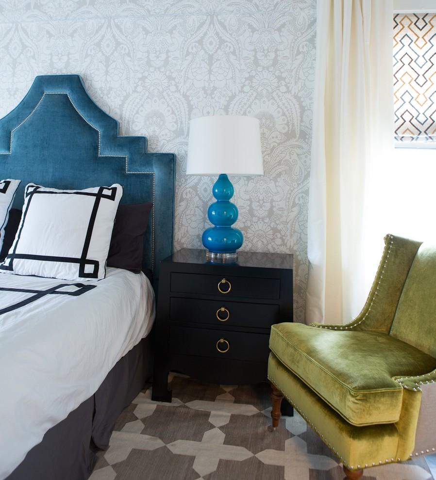 vintage bedroom greek key pillows tufted blue studded headboard damask wallpaper better decorating bible blog ideas