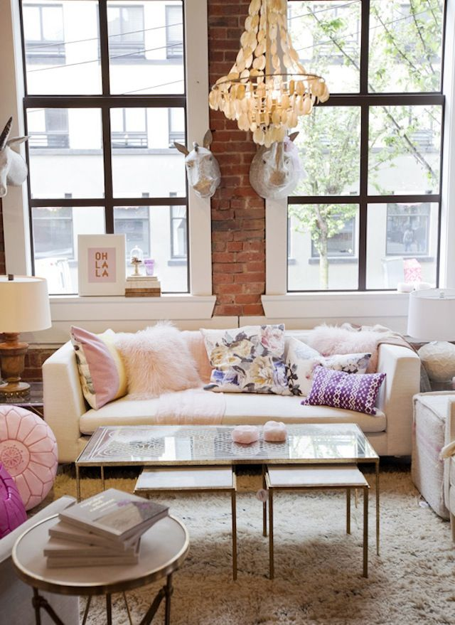 apartment decor fluffy pillows pastel pink decor