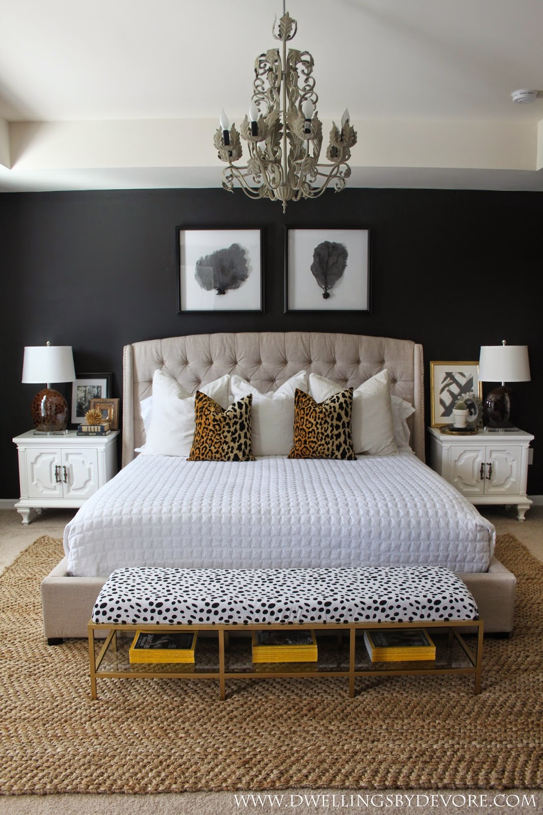 bedroom scalamandre leopard pillows black wall sisal jute rug better decorating bible tufted headboard ideas