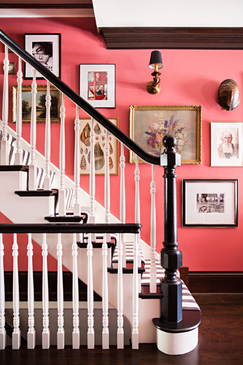 bold entry striped stair runner pink walls better decorating bible ideas