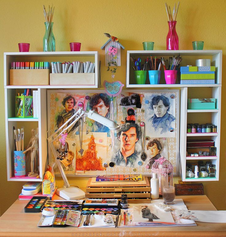 colorful art studio ideas decorating pink yellow girly