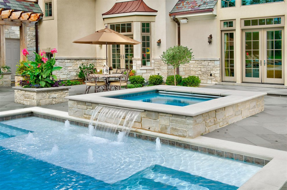 7 patio must haves for summer entertaining for Pool design with hot tub