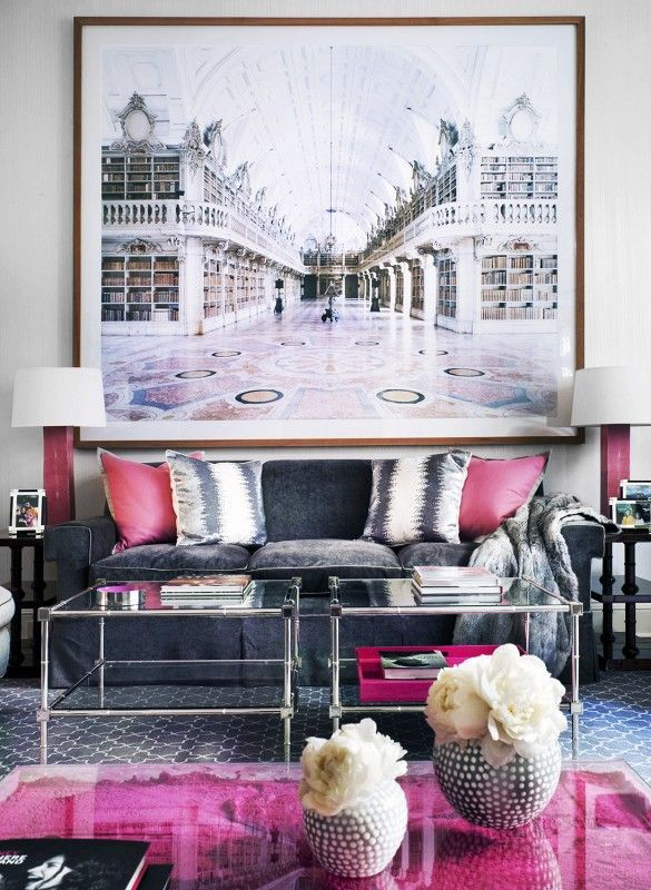 living room pink pillow huge artwork glam decor ideas