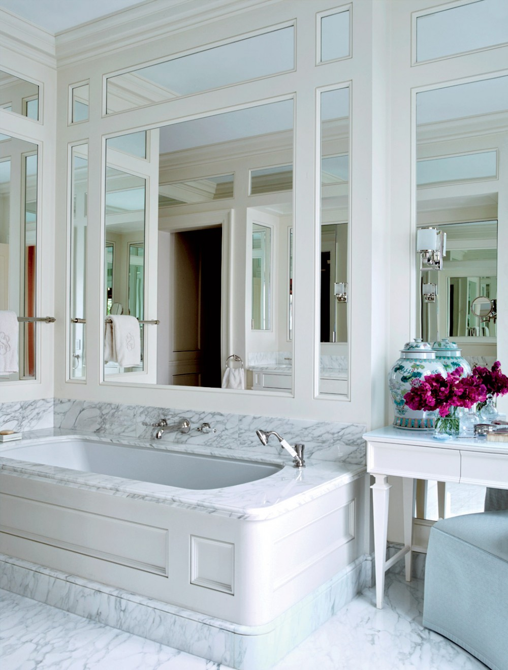 mirrored walls marble bathroom bathtub ideas luxury spa like better decorating bible blog