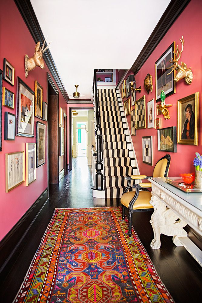 Pink Walls Persian Rug Black Molding Striped Stairs Victorian Dramatic Style Better Decorating Blog