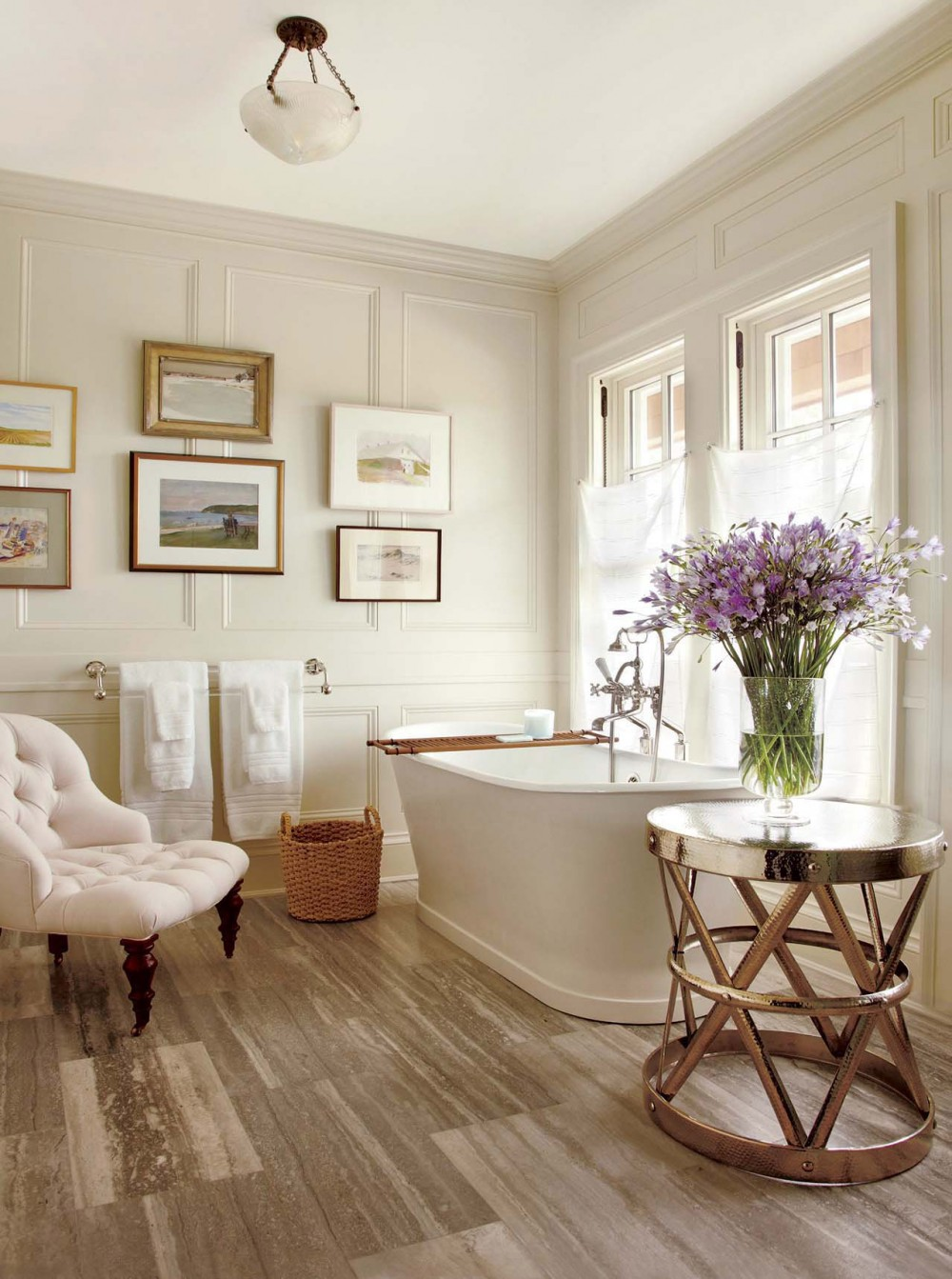 spa bathroom wood floor tiles chaise lounge wall pnelling ideas better decorating bible blog straw basket