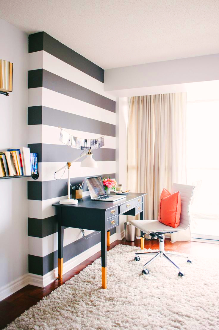 statement wall black and white striped office ideas easy cheap budget computer desk fuzzy rug better decorating bible blog