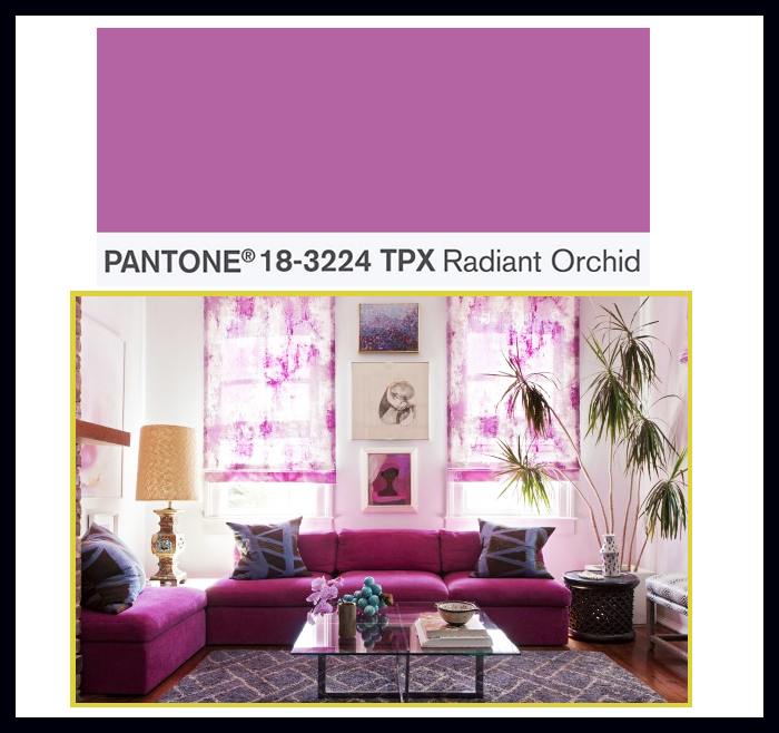 2015 decorating color trends radiant orchid living room sofa couch curtains better decorating bible blog