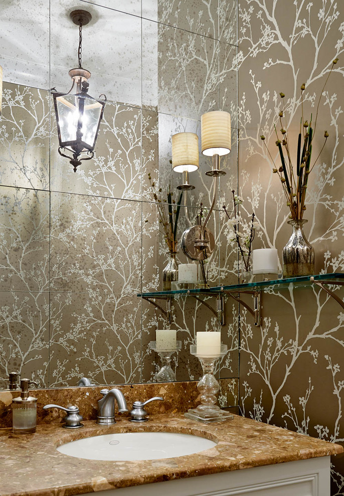 bathroom aged antiqued mirrored tiles chinoiserie metallic wallpaper bette decorating bible blog wall scones