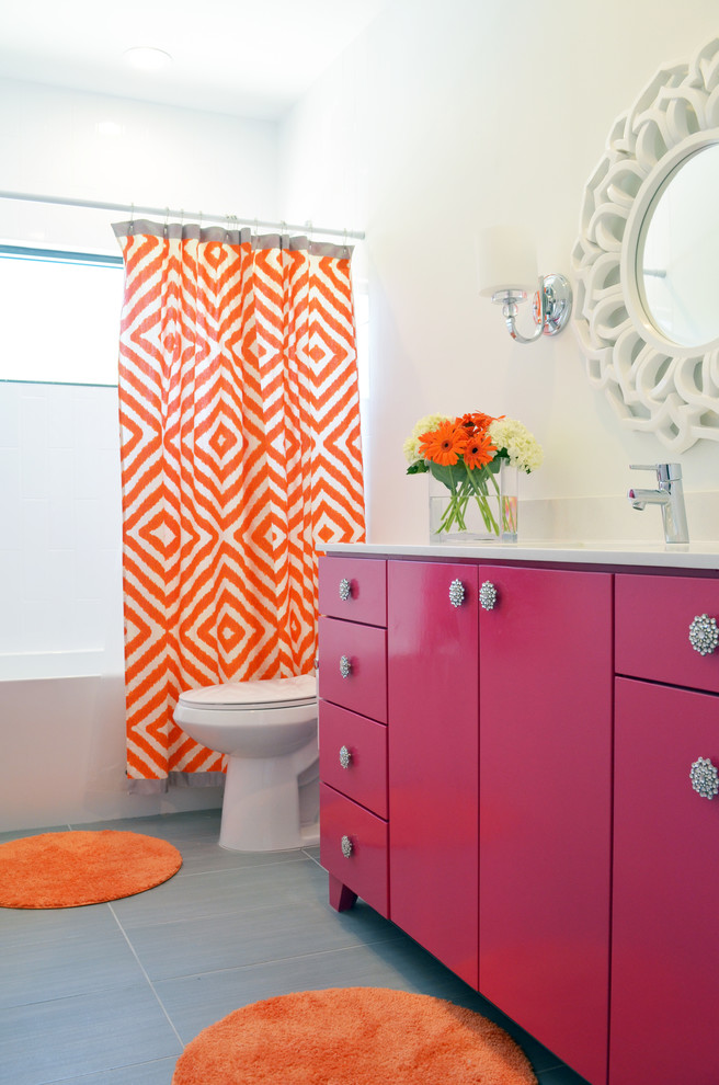 citrus orange pink grey bathroom decorating ideas
