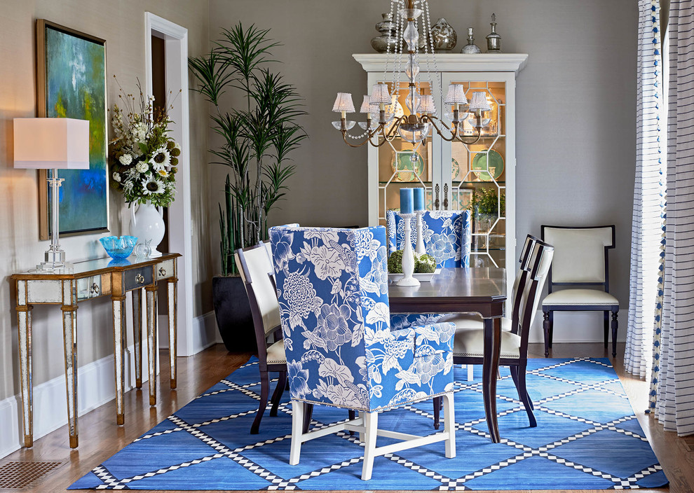 dining room lamour decor blue white garpet palm tree mirrored side table taupe walls chandelier better decorating bible blog