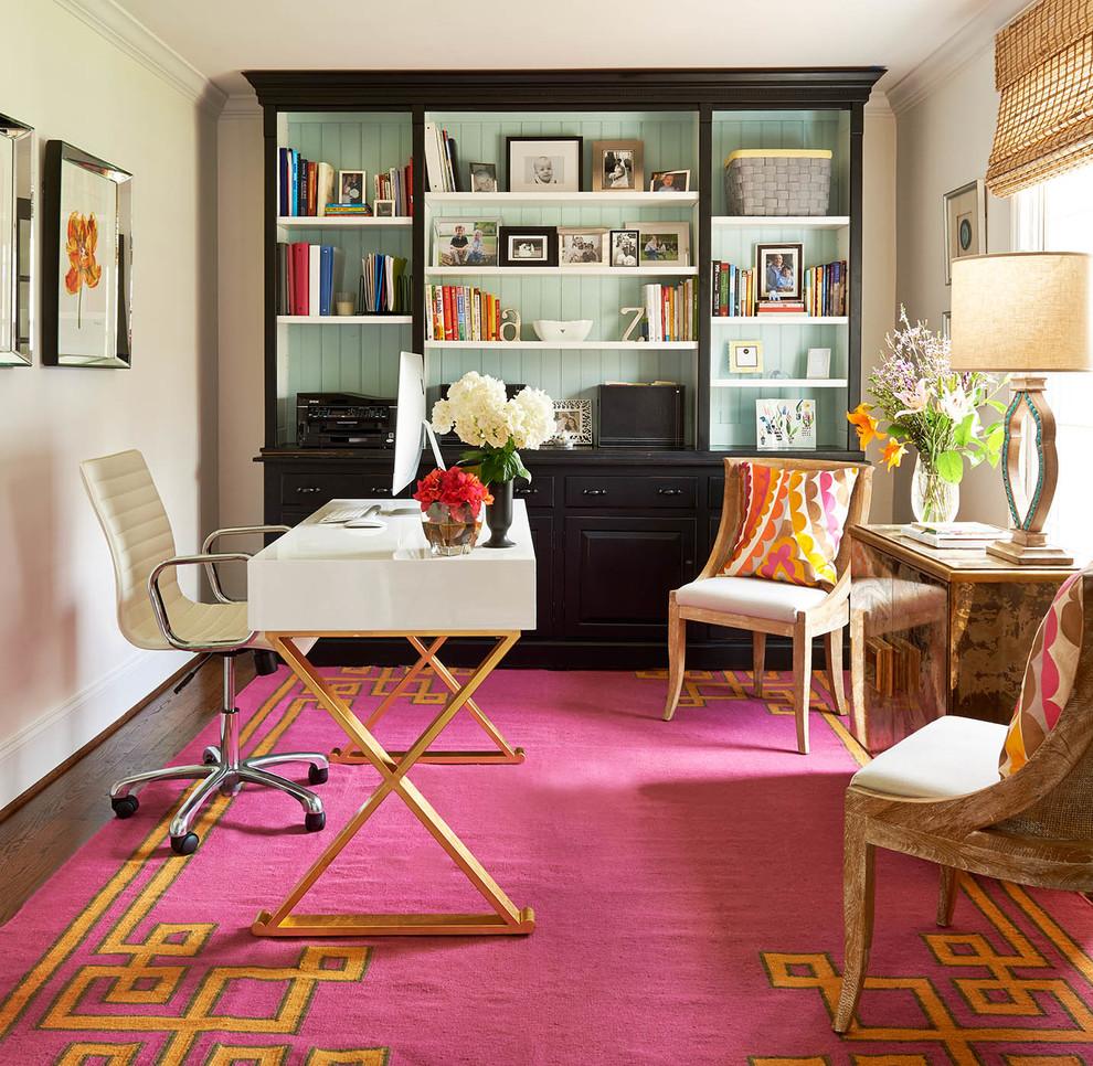 orange pink greek key carpet office glamorous decorating white gold table
