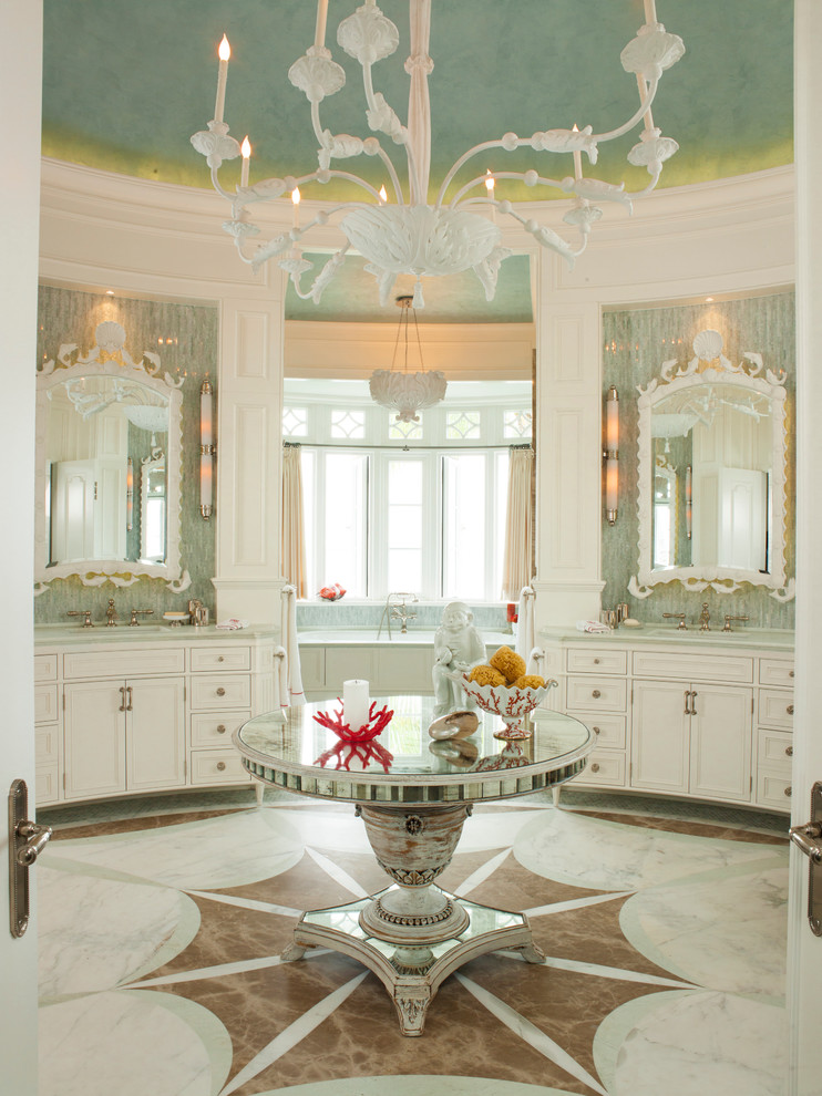 tropical-bathroom coral reaf tiles marble chandelier mansion mirrored table