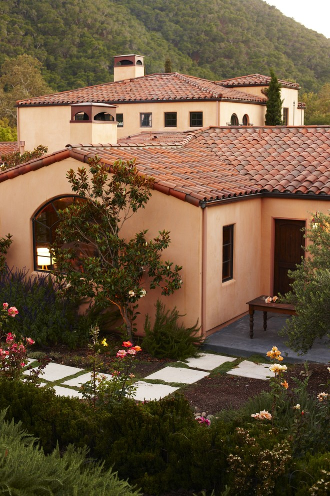 mediterranean-landscape orange roof repair curb appeal ideas easy