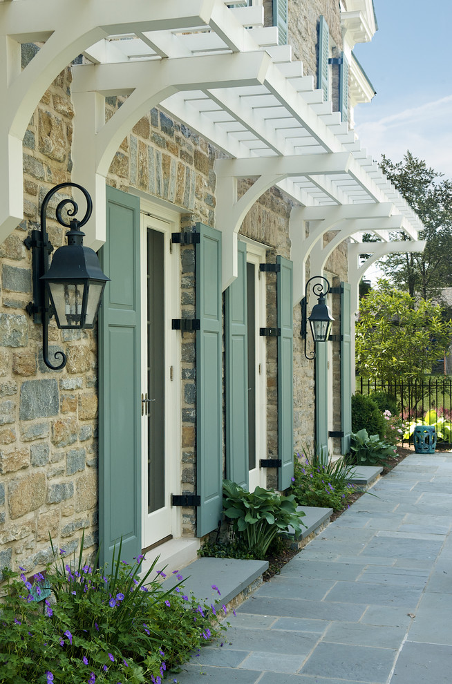 traditional-exterior curb appeal blue green shutters