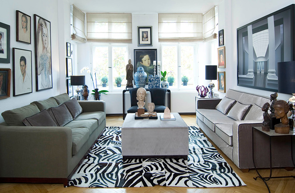 Zebra hide carpet decor sofa living room