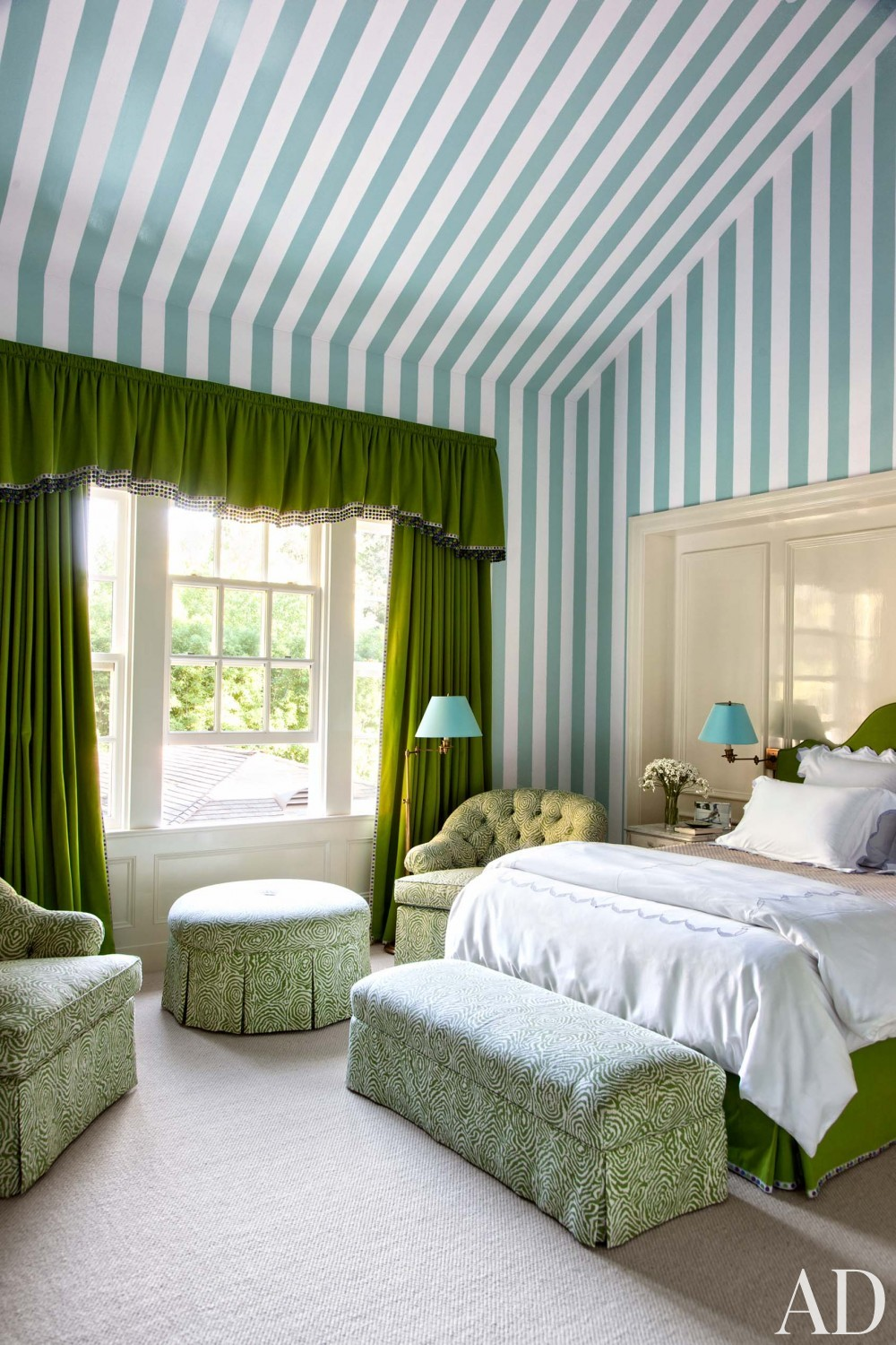 Blue white green striped walls wallpaper country style for Green bedroom wallpaper