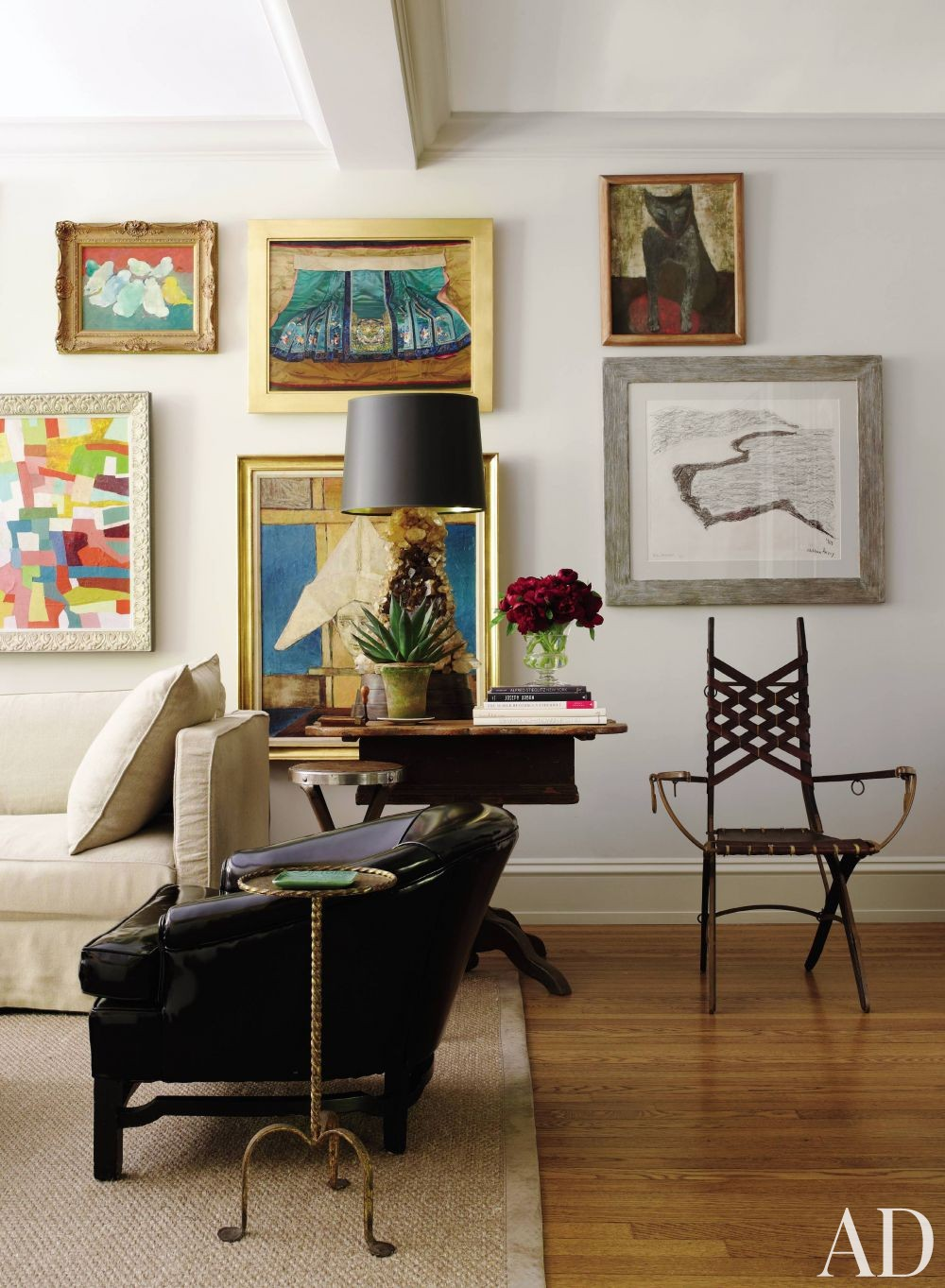 How to hang artwork in your home the on center rule - Contemporary wall art for living room ...
