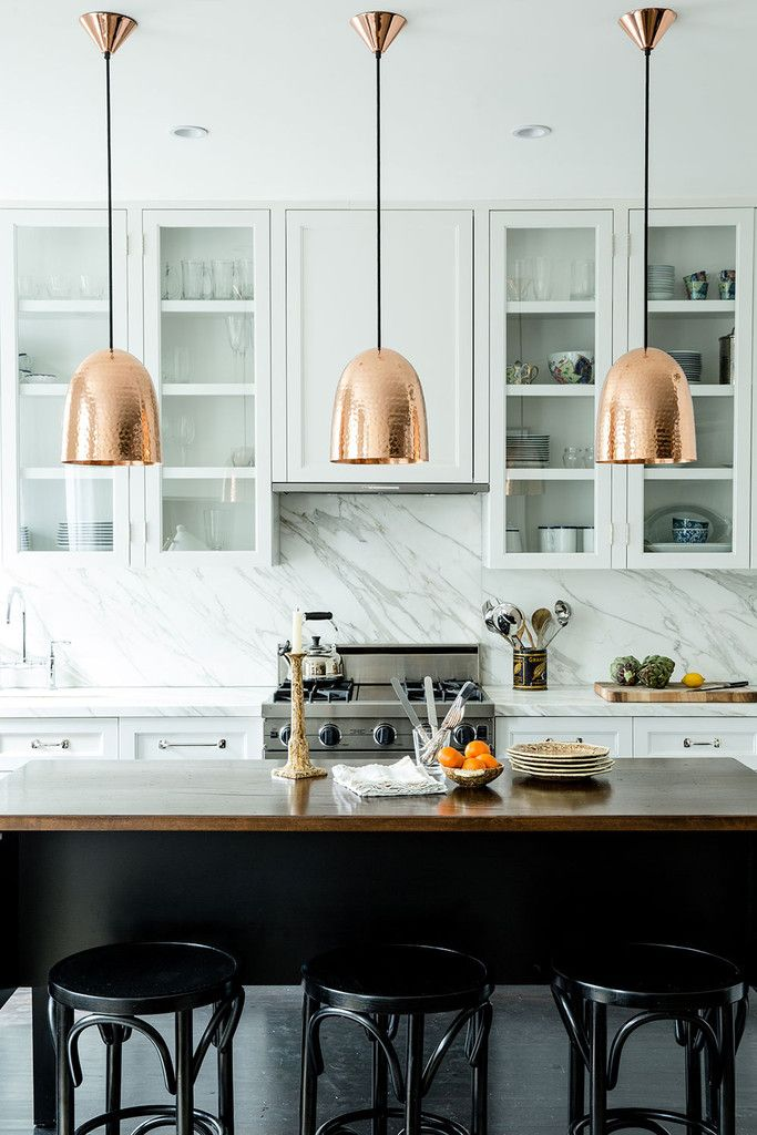 How to hang and decorate with kitchen pendant lights kitchen pendant lighting brass industrial modern decor ideas marble backsplash white kitchen better decorating bible blog aloadofball