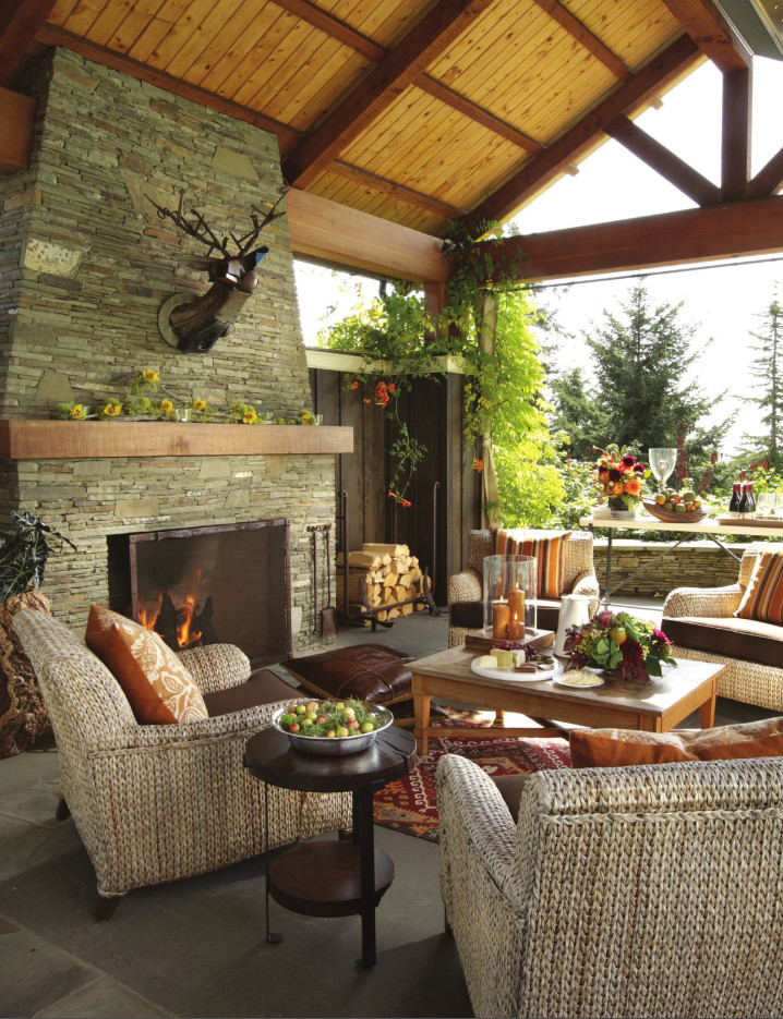 outdoor fireplace decor carpet rattan furniture fauxidermy