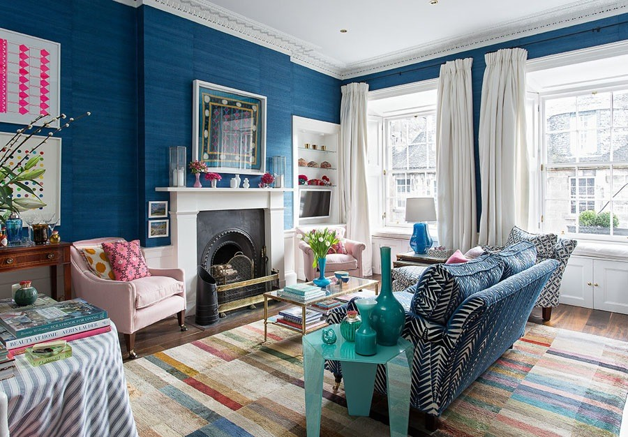 Vintage Rustic Apartment French Style Navy Blue Walls Jessica Buckley  Interiors