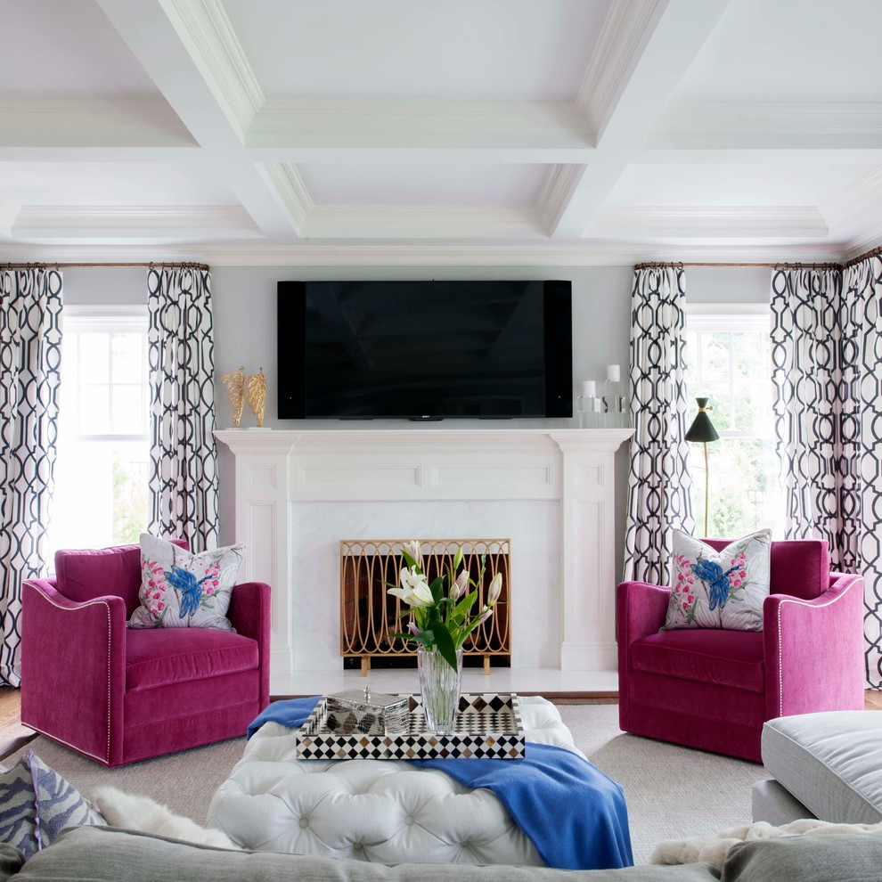2Glamlivingroomgreywallstuftedottomanmirroredbuffettable Classy Living Rooms With Ottomans Decorating Design
