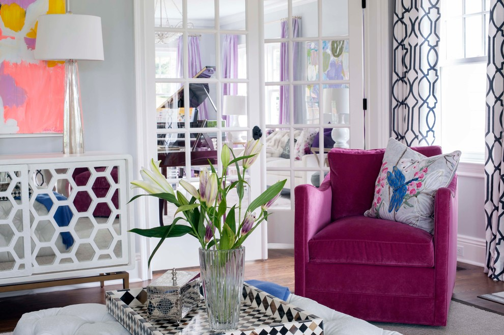 3 glam living room grey walls tufted ottoman mirrored buffet table pink white fluffy fur better decorating bible blog waffle ceiling