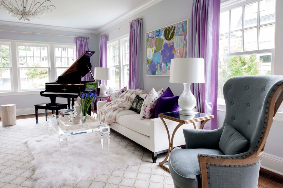 5 glam living room grey walls tufted ottoman mirrored buffet table pink white fluffy fur better decorating bible blog waffle ceiling