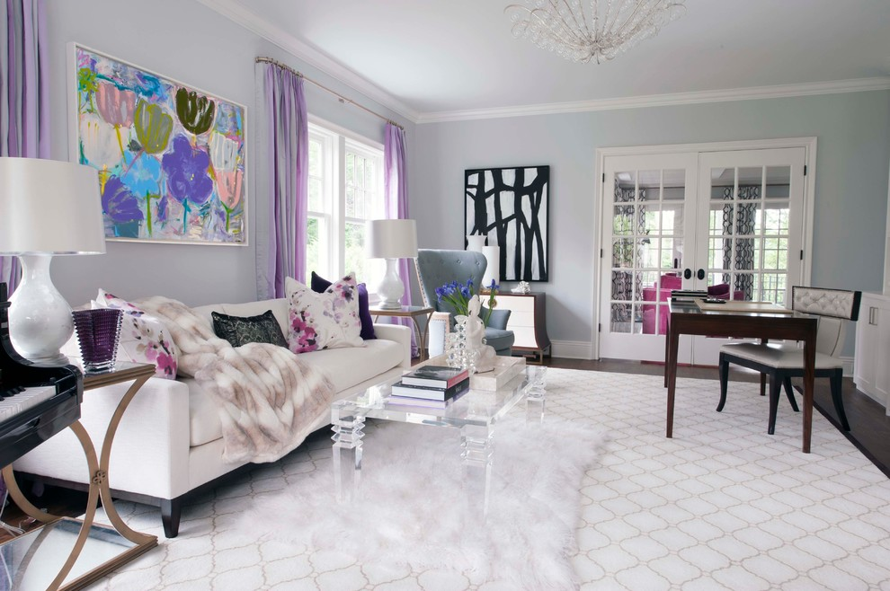 6 glam living room grey walls tufted ottoman mirrored buffet table pink white fluffy fur better decorating bible blog waffle ceiling