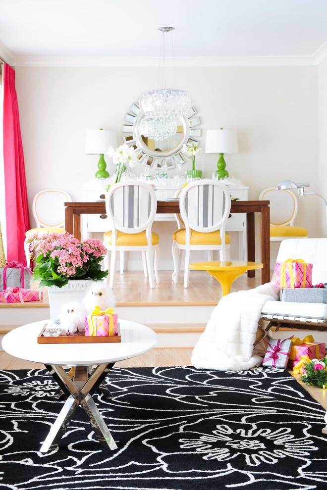 holiday christmas decor black rug yellow green pink color scheme ideas