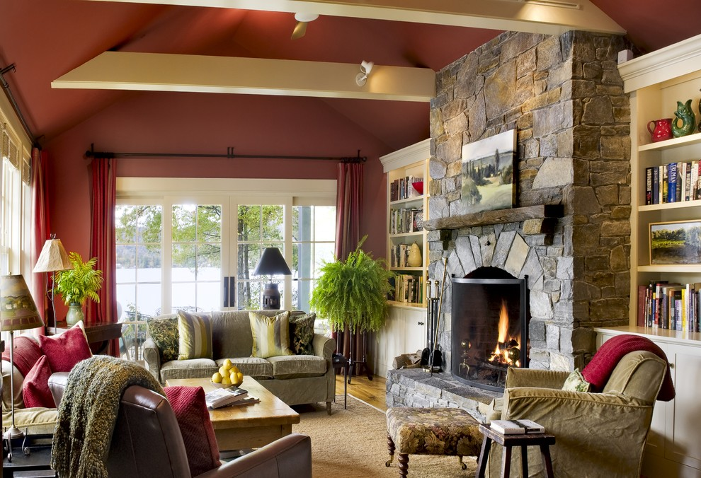 Stone fireplace decor ideas red walls rustic look for Rustic living room design ideas