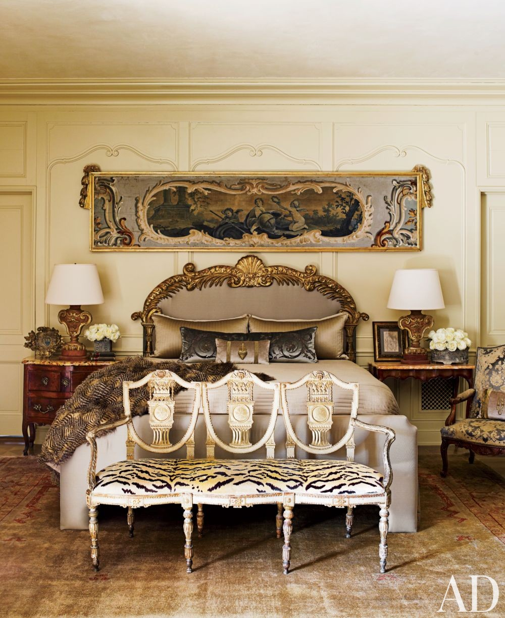 venetial style bed leopard velvet end bench gold gilded molding on walls decor better decorating bible blog