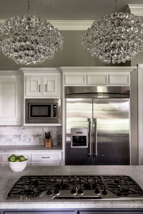 chandeliers in kitchen