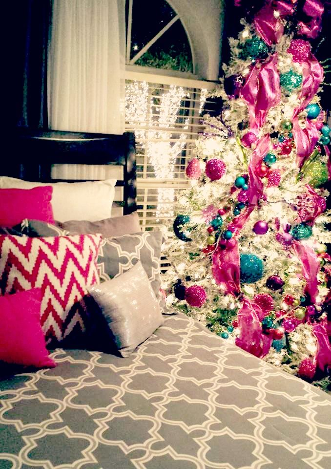 christmas bedroom pink tree decor romantic ideas