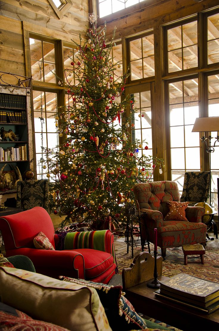 christmas living room decor log cabin cozy ideas holidays decorating