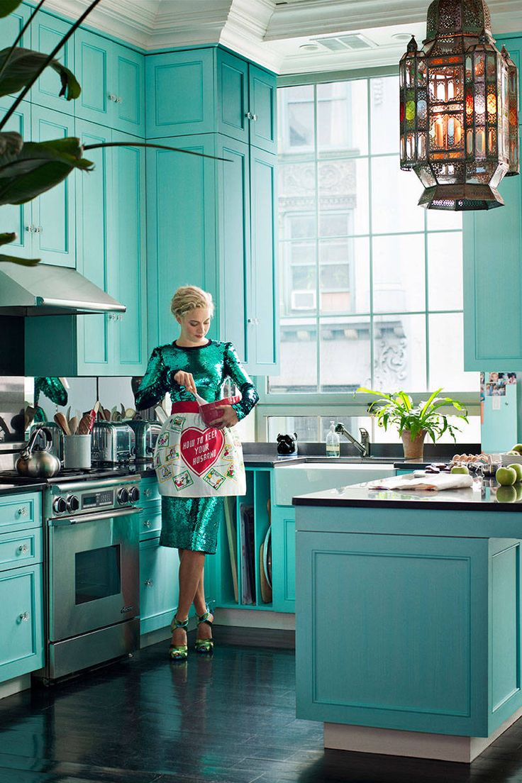 dream kitchen blue teal decorating vintage style