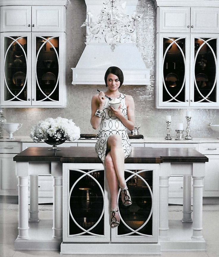 glamorous kitchen decorating tiny mirrored tiles mother of pearl white kitchen better decorating bible blog reno