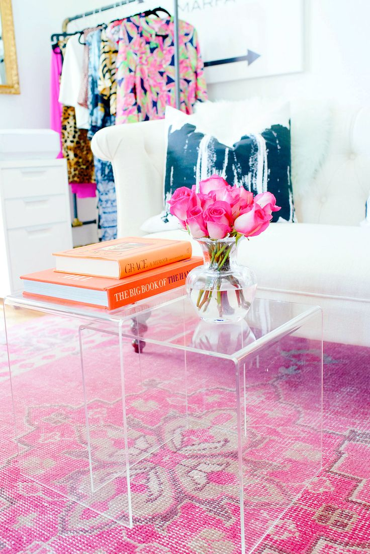 lucite coffee tables pink persian rug decorating
