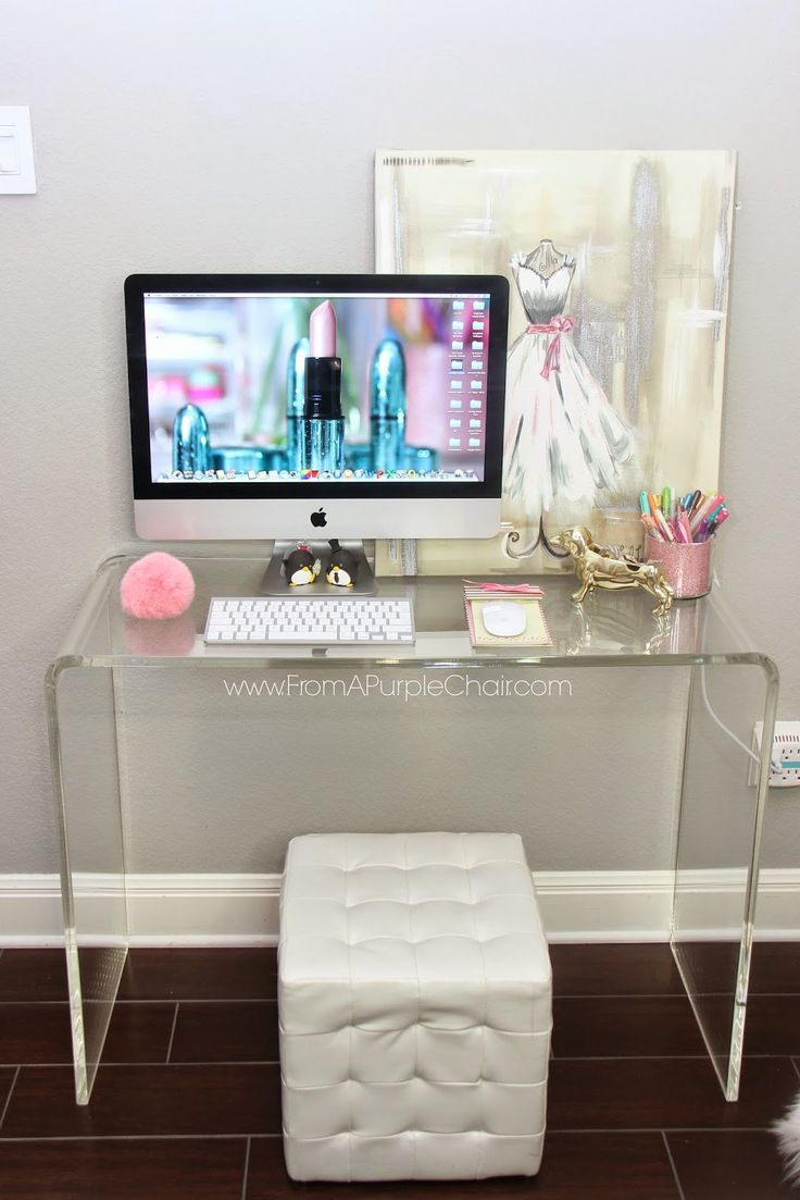 lucite desk decorating chic glam ideas girly tufted cube ottoman