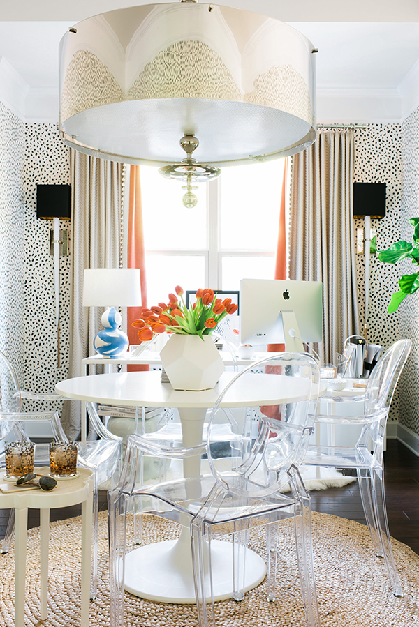 lucite dining chairs ghost leopard wallpaper glam chandelir gold decorating ideas