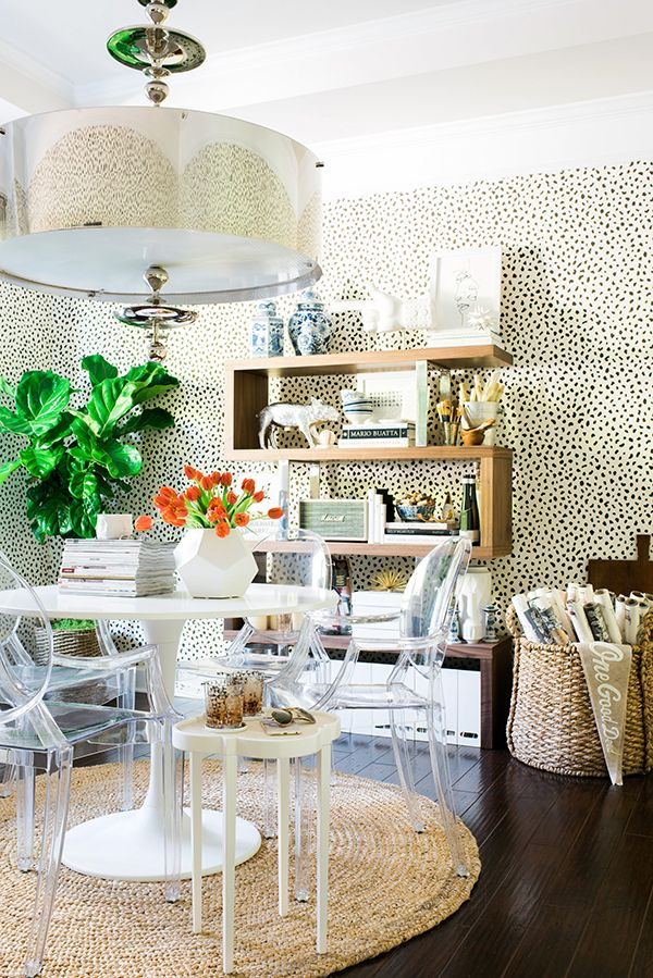 lucite ghost dining chairs leopard wallpaper decorating rope rug ideas