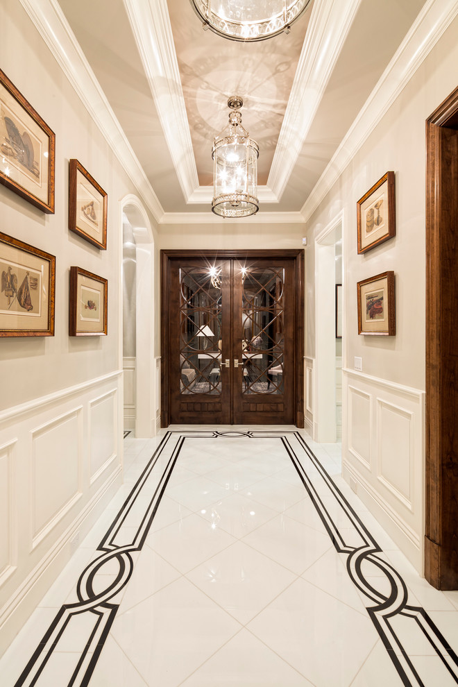 mediterranean-entry while marble floors