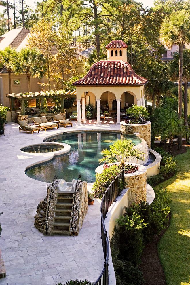 mediterranean-pool slide dream home backyard