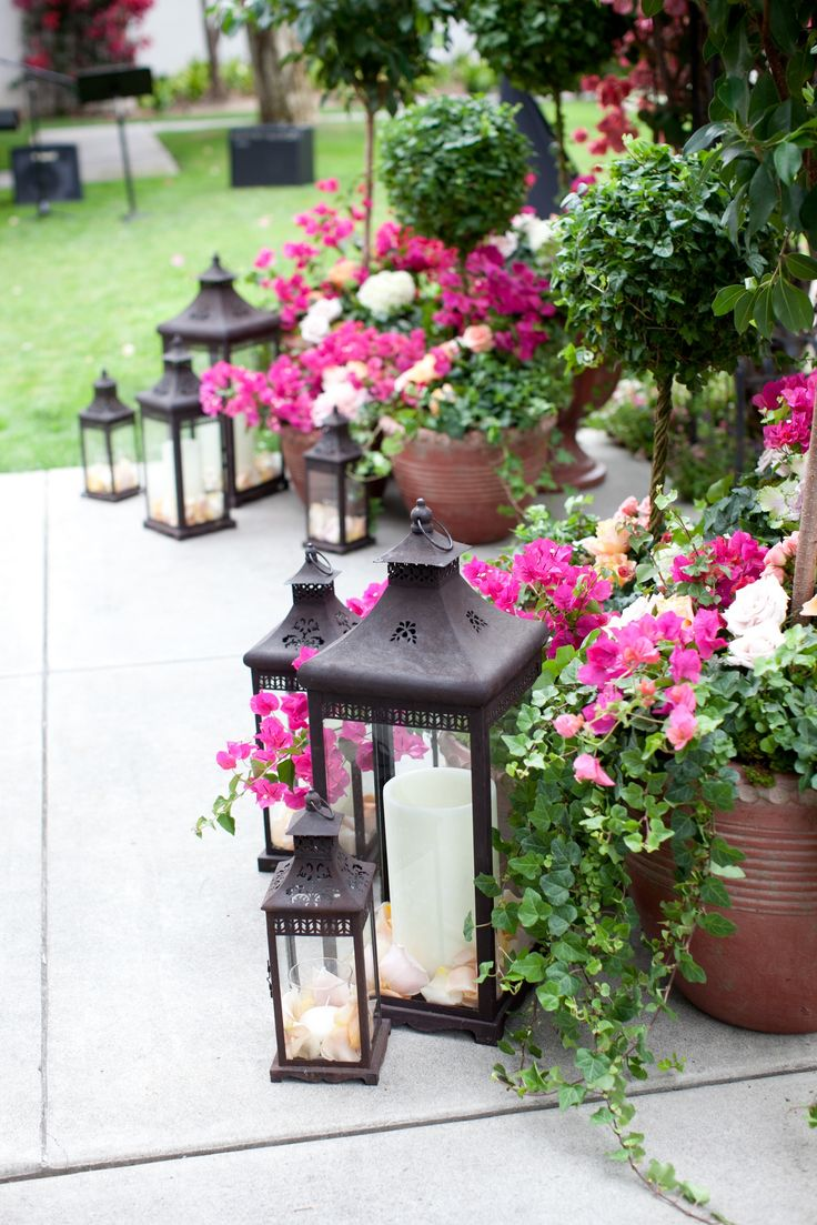 Patio Decor Lanterns Flowers