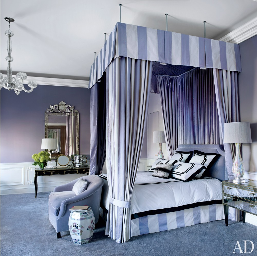 purple canopy bed striped bedroom ideas violet walls
