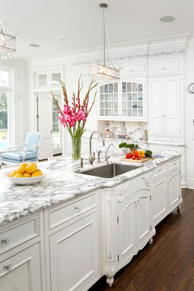 white kitchen marble countertops decorating wood floors