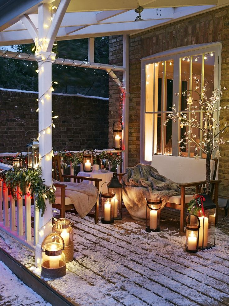 winter deck patio candles christmas decor better decorating bible blog